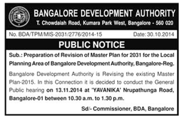 BDA PUBLIC NOTICE FOR PUBLIC HEARING ON RMP 2031