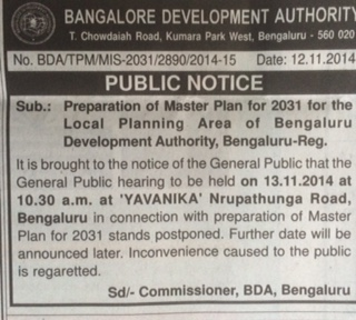 BDA PUBLIC NOTICE POSTPONING PUBLIC HEARING ON RMP 2031