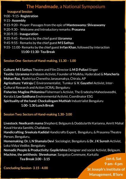 Handmade Symposium Schedule