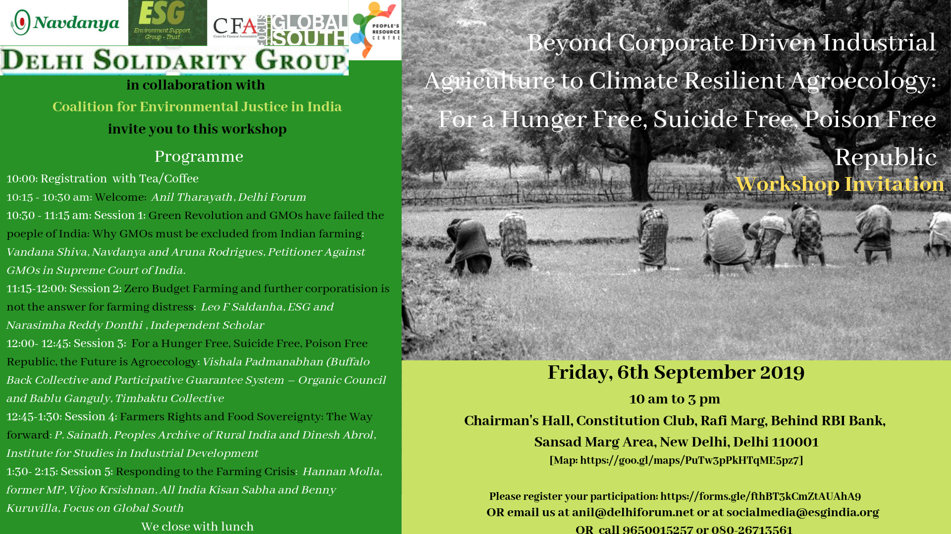 Beyond Corporate Driven Industrial Agriculture to Climate Resilient Agroecology: For a Hunger Free, Suicide Free, Poison Free Republic