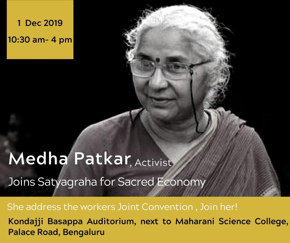 Medha Patkar joins Satyagraha for Sacred Economy