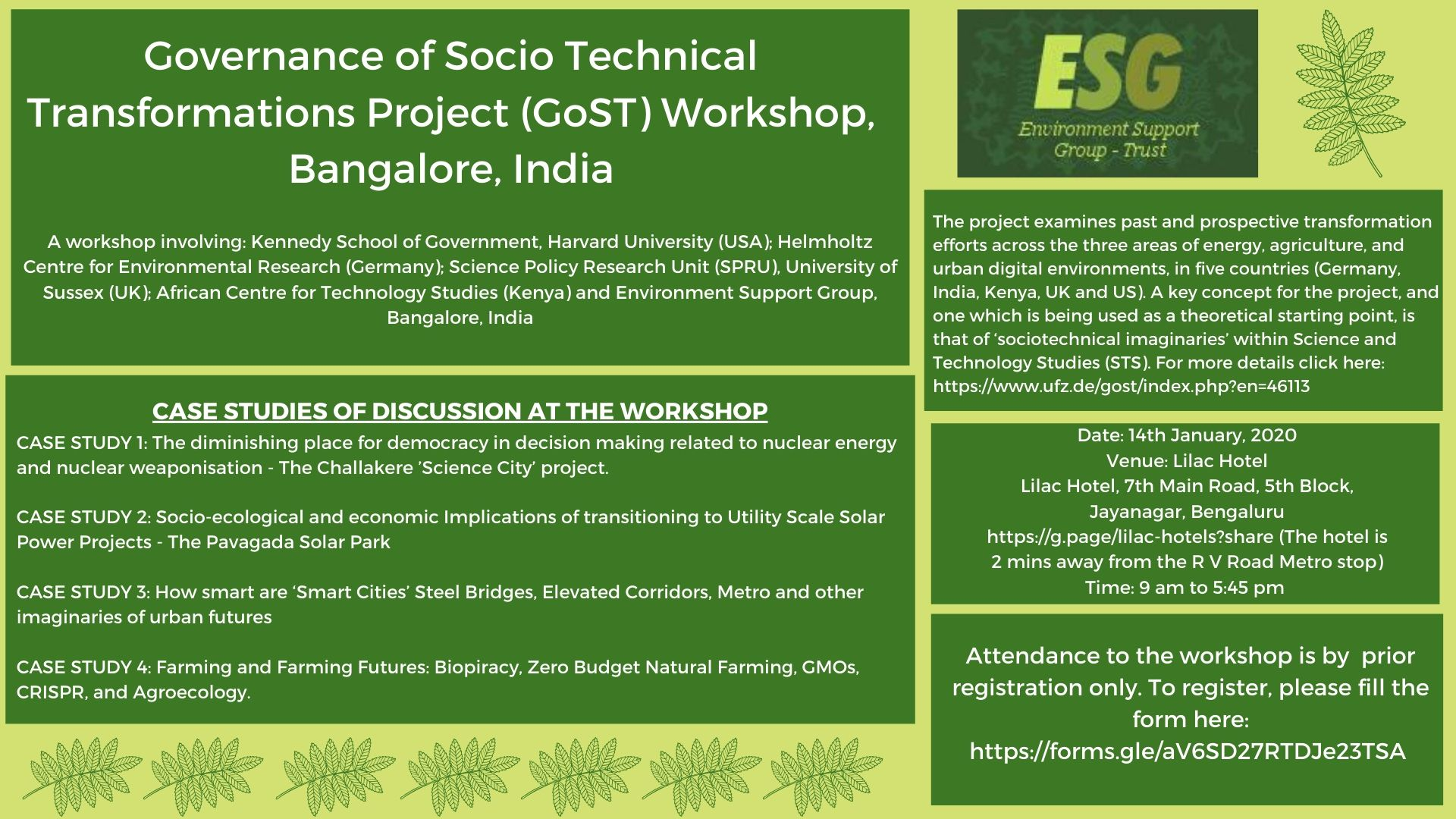 Governance of Socio Technical Transformations Project (GoST) Workshop, Bangalore, India